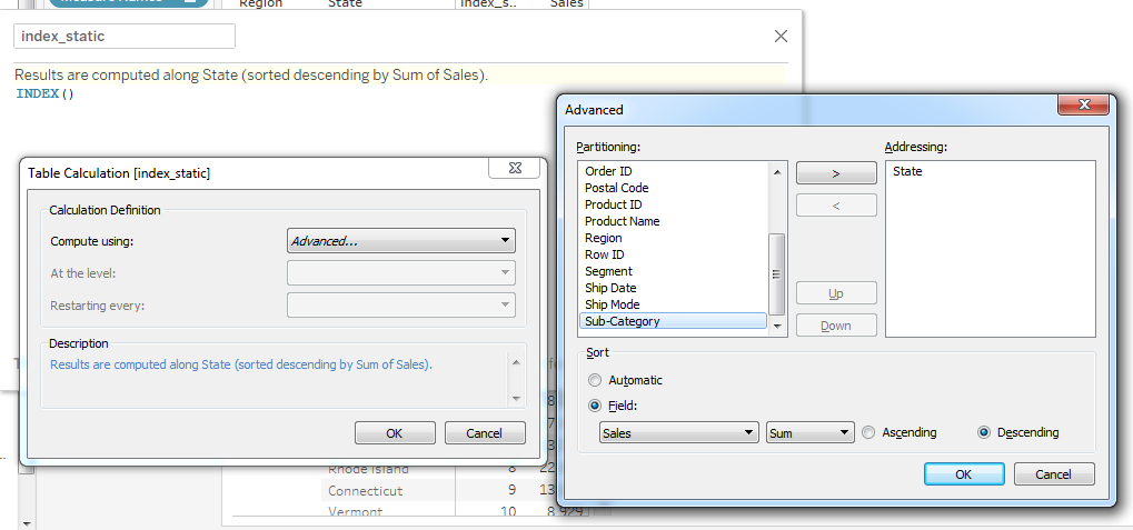 Calculation in Tableau: The concept of Addressing and
