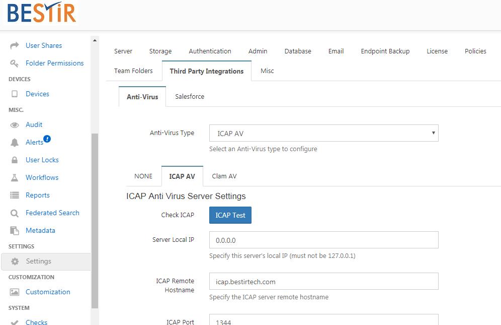 FileCloud Update includes the Antivirus Integration ICAP AV